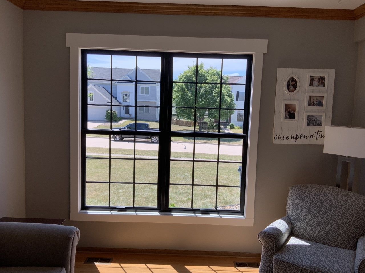 New black on black Infinity from Marvin full frame double hung window in West Des Moines Iowa
